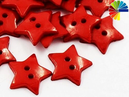 12mm 2-Loch Kinderknöpfe 50 Knöpfe Sterne