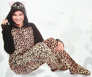 a8fd1ea7136f Leopard Animal Kitty Cat ADULT 1PC Costume PJS Fleece Hooded Footed ...