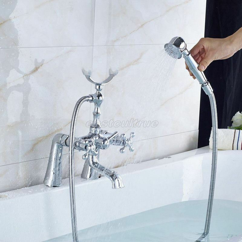 Wall Mount Polished Gold Brass Clawfoot Bath Tub Faucet with Handshower