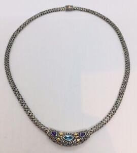 Bjc-Samuel-Benham-Plata-de-Ley-amp-18k-Oro-Amatista-Topacio-Azul-Trigo-Collar