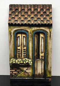 Vintage-Carved-Wall-Hanging-House-Plaque-Wood-Carving-Signed-Artwork