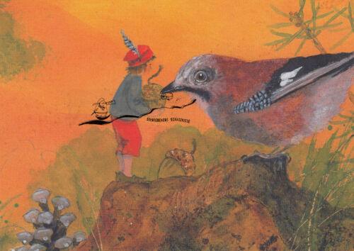 Daniela Drescher Kleiner Junge füttert Vogel Kunstkarte