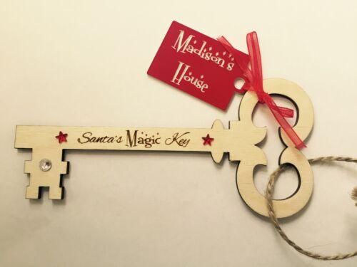 Personalised Wooden Children/'s Magic Santa Key Xmas Christmas Gift 15cm