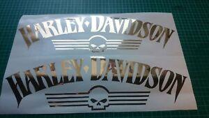 Details Zu Harley Davidson Tank Aufkleber Gold Hochglanz
