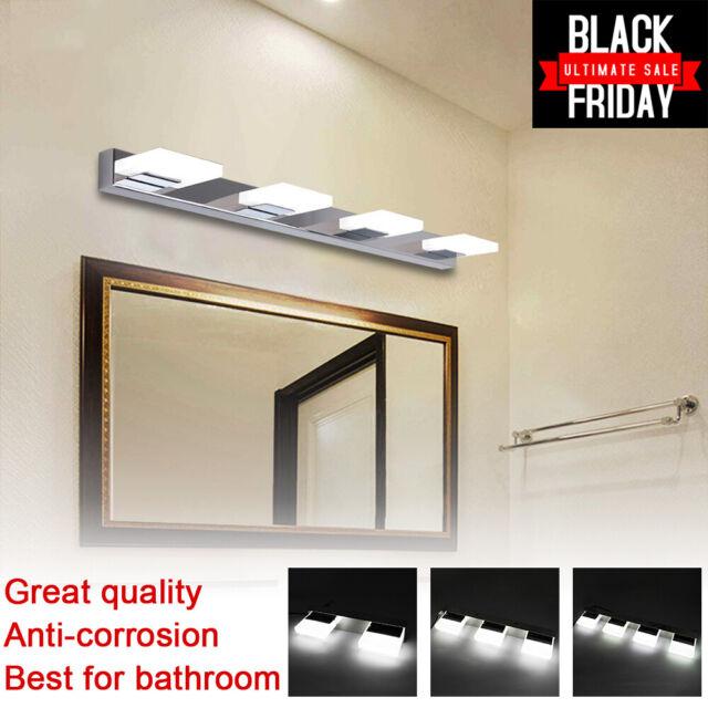 Bathroom Light Vanity Lights 4 Modern Glass Stainless Steel Wall Over Mirror For Sale Online Ebay
