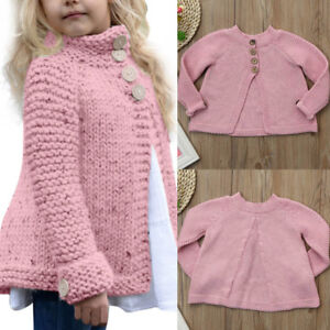 59571514b180 Kids Baby Girls Winter Jumpers Cardigans Clothes Button Knitted ...