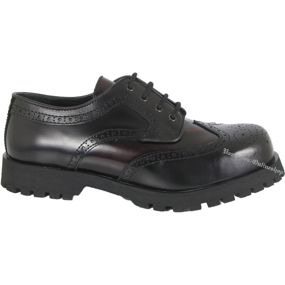 Boots & Braces Schuhe 4-Loch Budapester 2-Colour Schwarz Burgundy Burgundy Burgundy Rangers Leder 288108