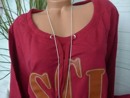 116 Sheego Sweat Shirt Pull Taille 40//42 à 56//58 bordeaux avec motif