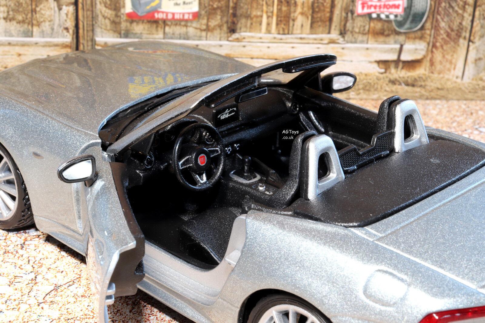 Fiat 124 Araña Araña Araña 1 24 Escala Modelo de Metal Fundido a Troquel Coche de Juguete Bburago 3+ 5ff904