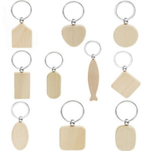 5-10x-Key-Ring-Keyring-Keyfob-Keychain-Wood-Blank-Tag-Hanging-Pendant-Bag-Gad-ti