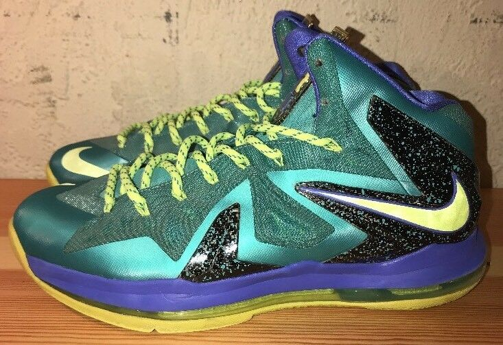8cd8860267b9 Preowned Nike Nike Nike Lebron X PS Elite 579827-300 Mens Turq bluee Vlt  Size