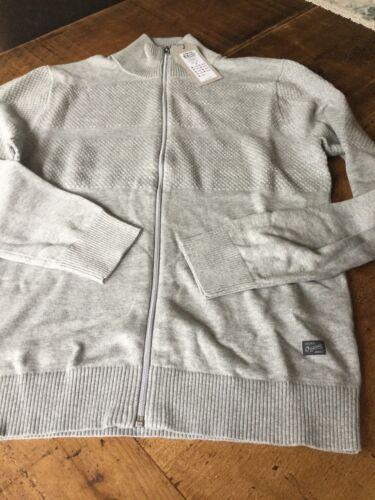 BARGAIN all sizes Jack and Jones  light grey zip knit