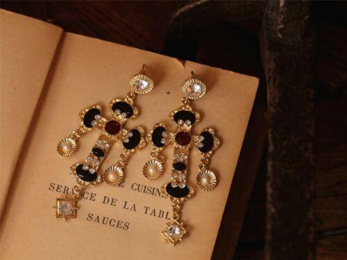 Boucles d/'Oreilles Grosse Croix Noir Email  Extravagant Soirée Mariage XX 2