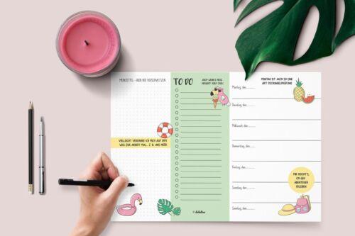 Neu To Do Liste, Block, Kalender ohne Datum Wochenplaner A4 Flamingo tropisch