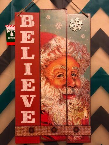 "Glitter Believe Santa Christmas Decorative Wood Wall Sign 14"" X 9"""