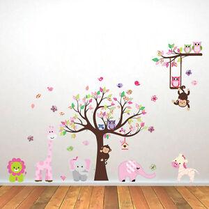Details zu Wandsticker Wandtattoo Kinderzimmer Aufkleber Tiere Elefant Wald  Affe Baum Löwe