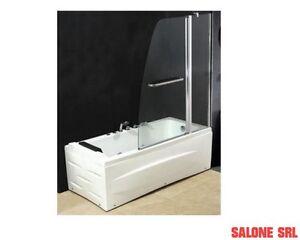 Vasca Da Bagno Trasparente : Parete per vasca doccia box in cristallo trasparente 120x140 per