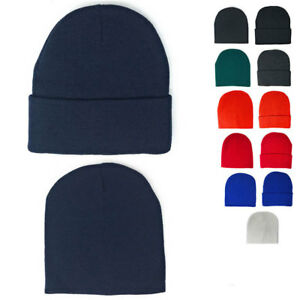 27486cbd1b05bd 1 Dozen Beanies Classic Short Uncuffed or Long Cuffed Warm Winter ...