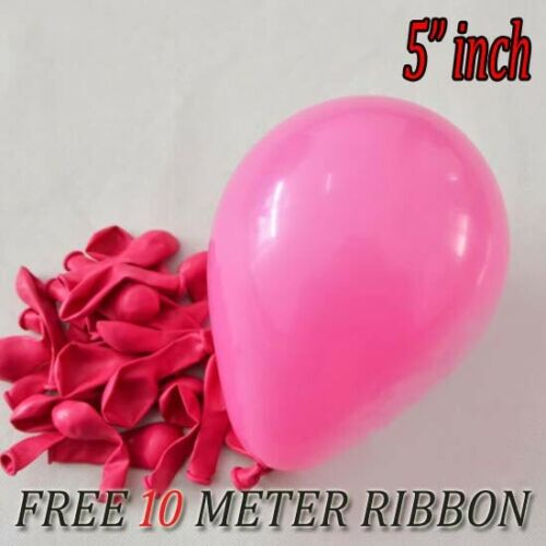 "10-100 Quality 5/"" INCH Small Round Latex Balloons All Birthday Parties Latex UK"