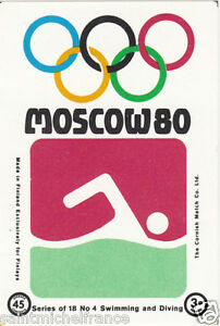 NATATION-SWIMMING-Diving-MOSCOU-Moscow-Olympic-GAMES-MATCHBOX-LABEL-1980