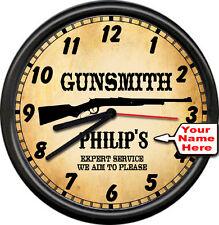 Personalized  Gun Shop Retro Vintage Gunsmith Firearms Rifle Sign Wall Clock