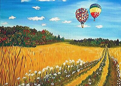 Aceo print from original painting air balloons wheat field autumn landscape