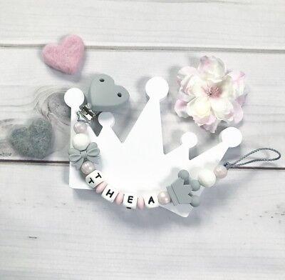 Schnullerkette Schnullerband Nuckelkette mit Namen rosa türkis weiß Herz Silikon