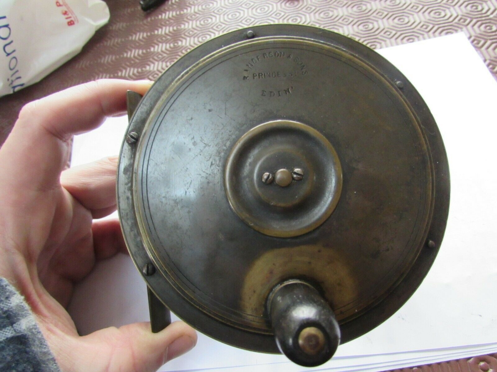 A1 stunning vintage anderson scottish early  brass salmon fly fishing reel 4.75   order online