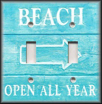 Metal Light Switch Plate Cover Beach Sign Aqua Blue - Beach Decor Coastal Decor
