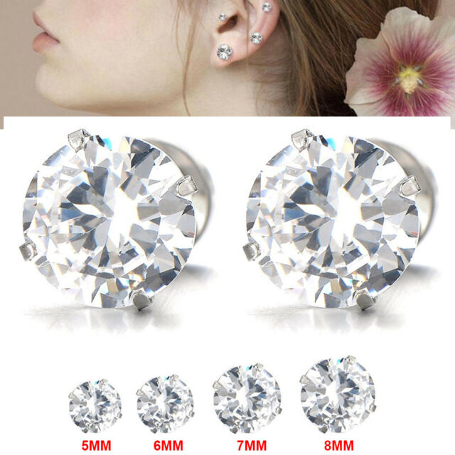 9df896a57 Frequently bought together. 8x Men's Women's White Cubic Zirconia Stud  Earrings Stainless Steel ...