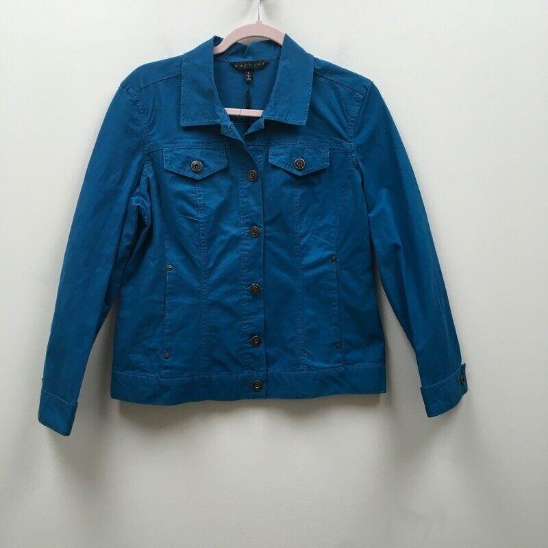 BACCINI Womens Jacket Blue Buttons Stretch Pockets Long Sleeve Cotton Blend L