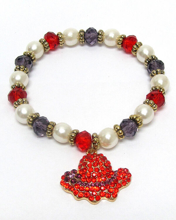 Red Hat Stretch Bracelet Faux Pearls with Red and Purpl