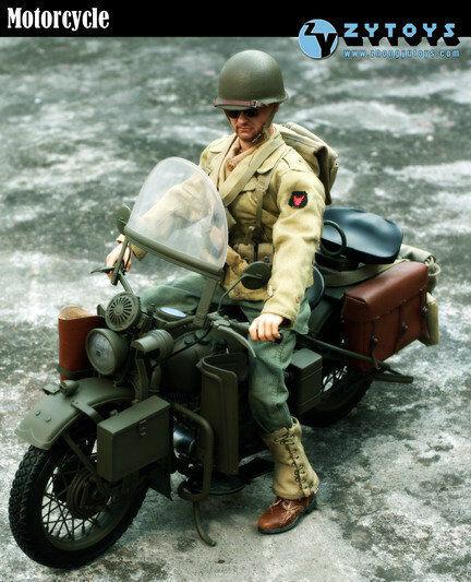 ZY-8038 - ZY Juguetes Segunda Guerra Mundial Moto militar de Estados Unidos