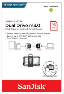 SanDisk 16GB Ultra Dual OTG microUSB & USB 3.0 Flash Drive Android Phone Storage