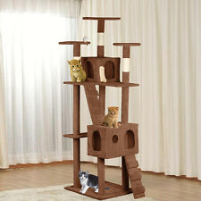 "New 73"" Cat Tree Tower Condo Furniture Scratch Post Kitty Pet House Play Brown"