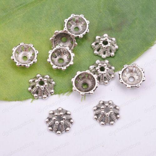 50Pcs Tibetan Silver Metal Flower Loose Spacer Beads Caps Lots 6//8//10//12//14MM