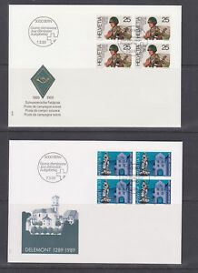 Switzerland-Mi-1385-1403-1989-issues-5-complete-sets-in-blocks-of-4-on-15-FDCs