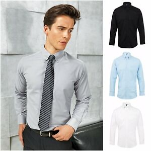 Mens Long Sleeve Oxford Shirt Business Work Smart Formal Casual