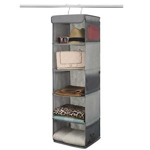 Genial Details About 5 Shelf Hanging Closet Organizer   6 Side Mesh Pockets For  Clothes Storage
