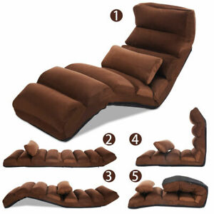 Folding-Lazy-Sofa-Chair-Stylish-Sofa-Couch-Beds-Lounge-Chair-W-Pillow-Coffee-New