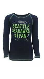 Seattle-Seahawks-NFL-Youth-Girls-039-Long-Sleeve-Graphic-T-Shirt-Large-14-NWT