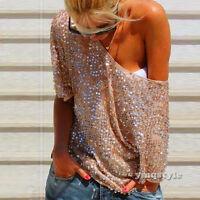 Sexy Women Fashion Sequin Bling Shiny T-Shirt Blouse Short Sleeve Casual Top Tee