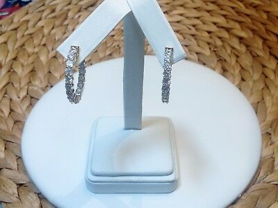"""In and Out CZ Hoop Earrings-Inside Outside-Gold Rhodium EP-Hinged Snap Back-1"""""""