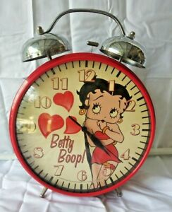 Vintage Oversized Betty Boop Alarm Clock Red Legs Battery Operated