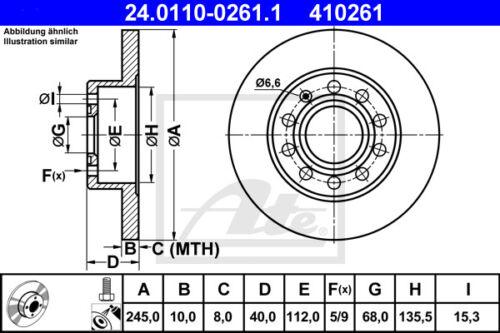 Beläge Hinterachse 8ED, B7 HA ATE Bremsscheiben für AUDI A4 Avant