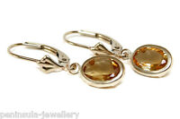 9ct Gold Citrine Leverback Earrings Gift Boxed Made In Uk