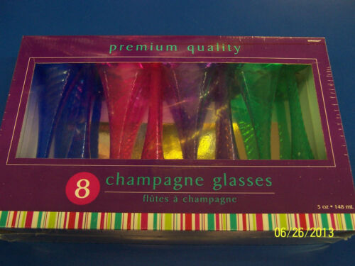 Bright Jewel Tone Summer Luau Cocktail New Year/'s Party Glasses Champagne Flutes