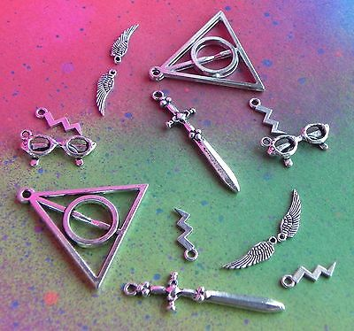 1 x Harry Potter Deathly Hallows Symbol Sign Wizard Silver Plated Clip On Charm