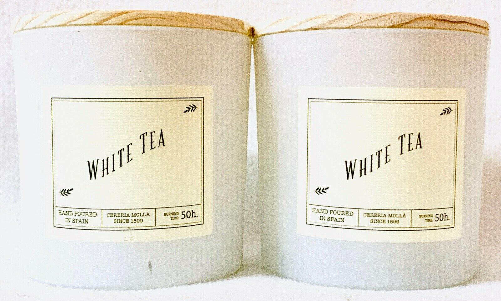 2 Cereria Molla 1899 Weiß TEA 50hr Burn Time Large Candle MADE IN SPAIN 14 oz