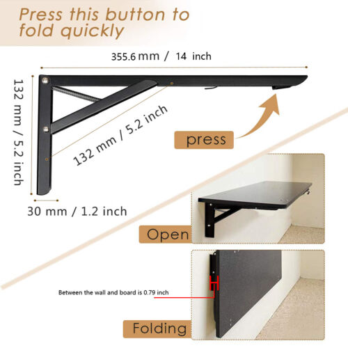 Wall Mounted Folding Shelf Brackets Cold Rolled Steel Table Bench Bracket